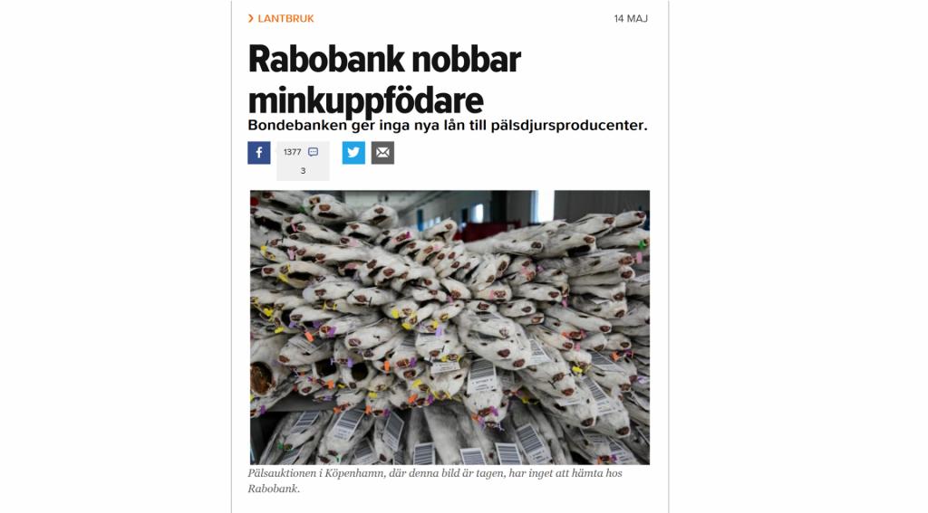 Холандска банка отказва да финансира ферми за ценни кожи
